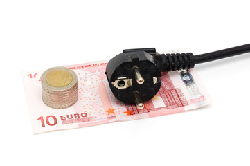 concept of energy savings with money