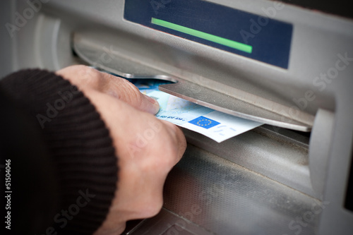 Getting cash at ATM machine