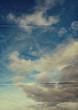 retro folded paper sky