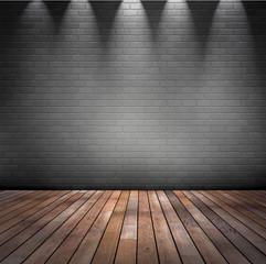 Raum mit grauer Ziegelwand mit Holzfussboden, Deckenstrahler