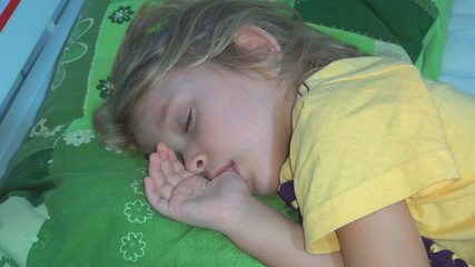 Sleeping Child, Little Girl Sucking Thumb, Habits of Children