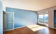 Interior classic apartment, blue sunny room