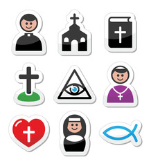 Religion, catholic church vector icons set