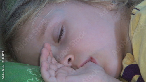 Sleeping Child, Little Girl Sucking Thumb, Habits of Children
