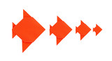 Four orange fish origami from paper on white background poster