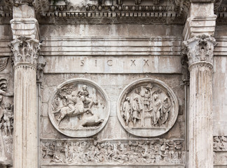 Close-up on the Arch of Constantine in Rome