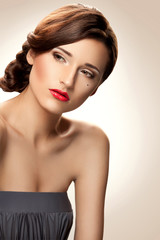 Red lip. Woman with nice makeup  and red lipstick