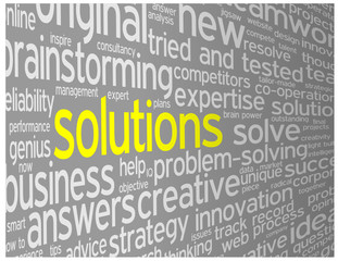 """""""SOLUTIONS"""" Tag Cloud (ideas business projects innovation smart)"""