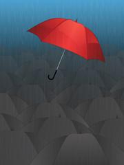 Flying Single Red Umbrella