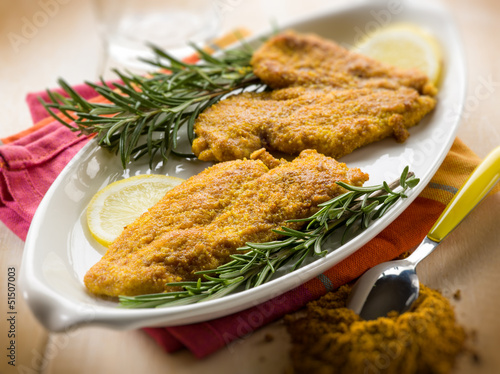 escalope with curry spice, selective focus
