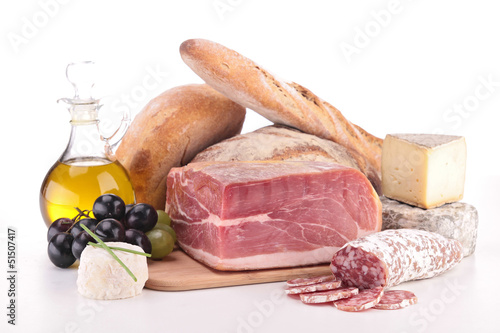 composition with meat,cheese and bread