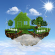 Flying House. Abstract eco backgrounds for your design