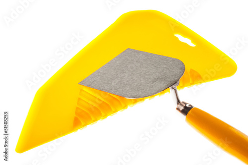 Plastic putty knife and plastering trowel