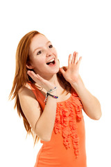 Portrait of young surprised girl, isolated on white background