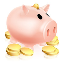 Piggy bank and gold coins