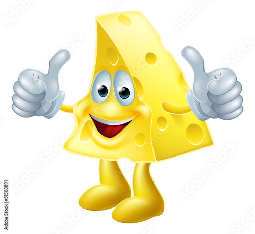 Happy cartoon cheese man