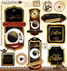 Premium quality coffee house label, vector illustration