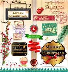 Merry Christmas and Happy New Year design elements