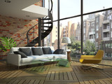 Fototapety Modern loft interior with part of second floor