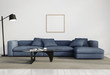 Contemporary elegant living room, blue sofa, white wood floor