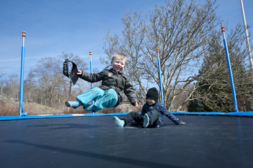Springtime fun on a trampoline