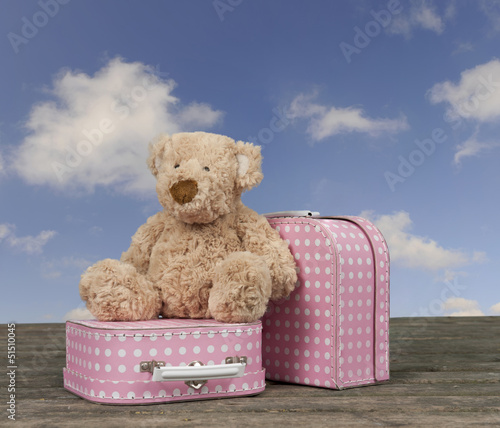 teddy bear and pink with white dots vintage suitcases