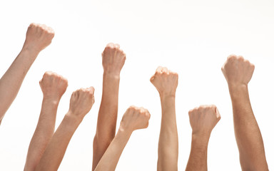 Group of hands raised up