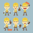 Industrial Construction Worker character set cartoon vector