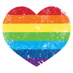 Gay rights rainbow retro heart flag