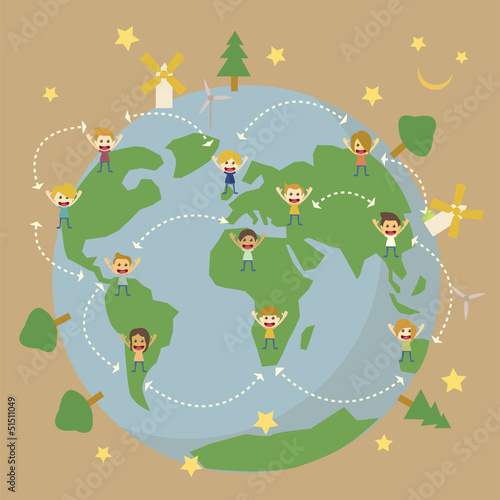 Children around the world save the planet earth