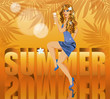 Summer time card with beautiful sexy woman, vector