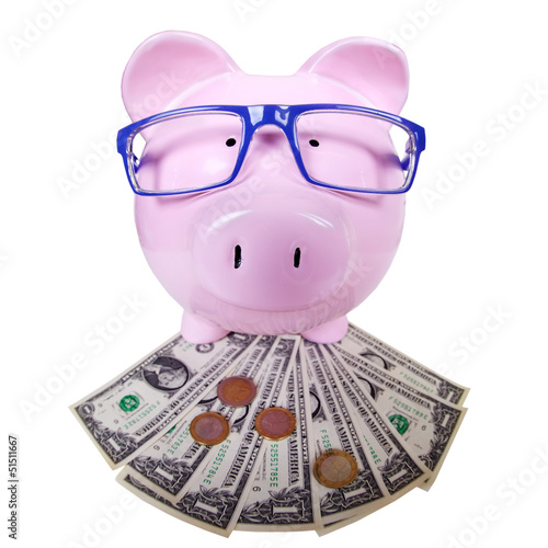 Piggy bank with money.
