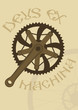 Vintage style poster with a bike chainring and crankarm
