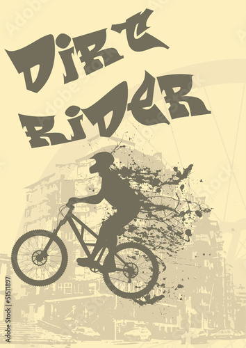 Abstract vector illustration of a biker with ink splash