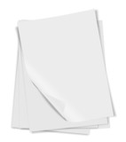 close up of stack of papers with curl on white background