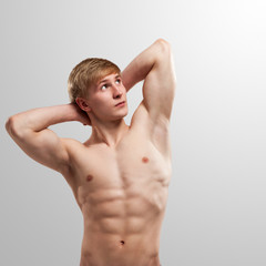 Handsome guy posing with naked torso
