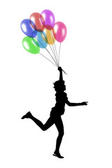 young woman running with balloons