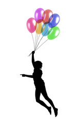 young woman flying with balloons