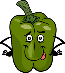 cute green pepper cartoon illustration