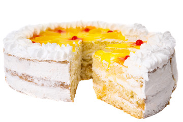 Cake with fruits isolated