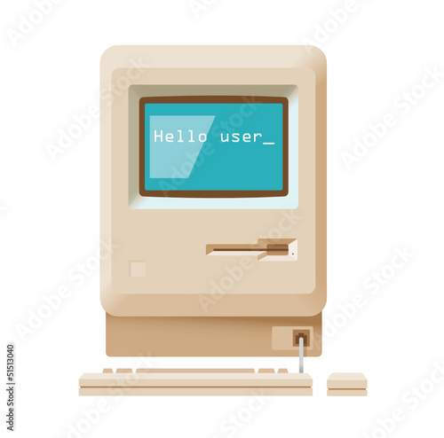 Hello user message on vintage computer. Future concept