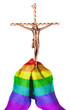 Old woman with catholic crucifix, isolated, rainbow flag pattern
