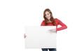 Frau zeigt auf leerem Plakat - woman with white board