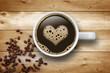 Obrazy na płótnie, fototapety, zdjęcia, fotoobrazy drukowane : Kaffeetasse mit Herz auf Holz