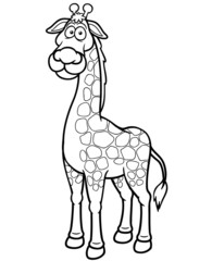 Vector illustration of giraffe cartoon - Coloring book