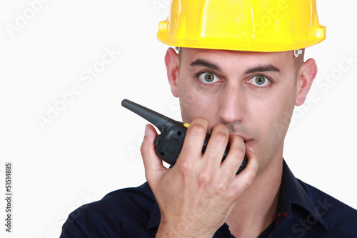 Worker with radio transmitter