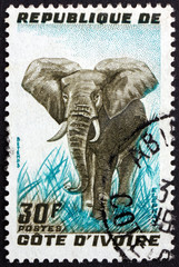 Postage stamp Ivory Coast 1966 African Elephant, Animal