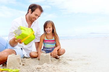 happy sand castle child