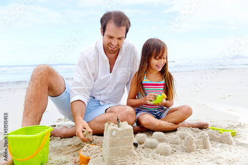 happy sand castle child