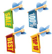 Set of four arrows with banners and sale texts